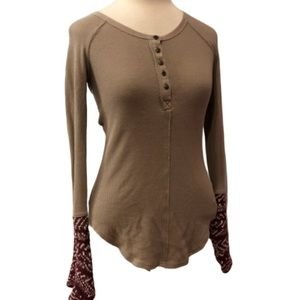 FREE PEOPLE Brown Thermal Sweater Knot Sleeve XS